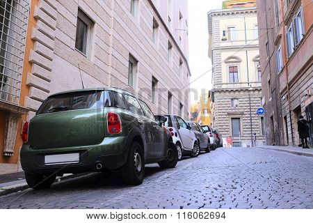 Roma, Italy, January, 16: car parking in Roma, Italy