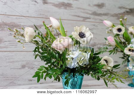 Two Bouquets Of Fresh Flowers