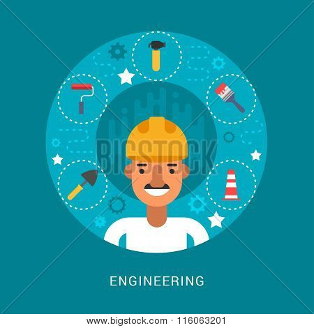 Building Icons And Objects In The Shape Of Circle. Engineer Cartoon Character. Vector Illustration I