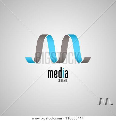 M logo,Media,Vector logo template.