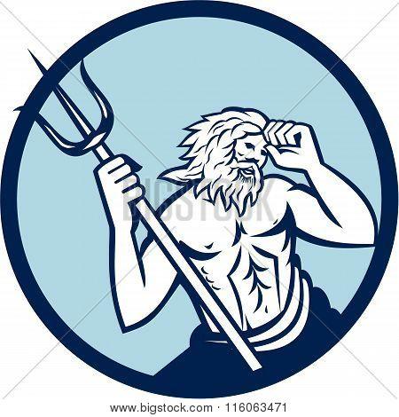 Poseidon Trident Circle Retro