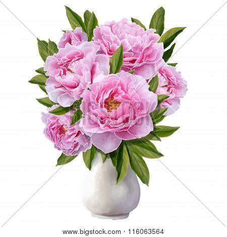 Bouquet Of Pink Peonies In A White Porcelain Vase