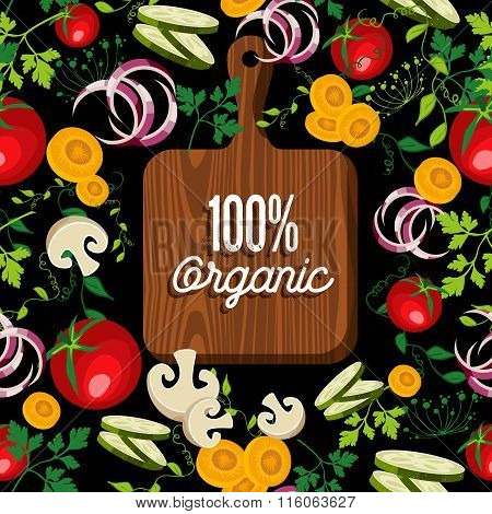 Raw Vegetables Food With 100% Organic Wood Board