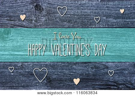 Happy Valentine's Day Card Illustration on wooden background