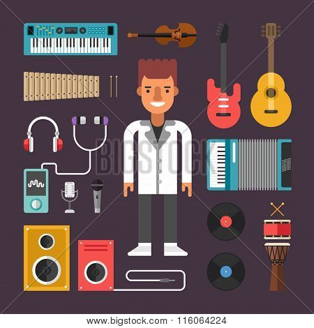 Set Of Vector Icons And Illustrations In Flat Design Style. Profession Musician. Male Cartoon Charac