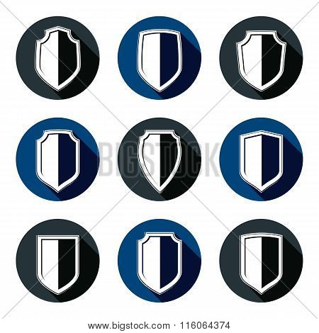 Set Of Stylized Coat Of Arms, Decorative Defense Vector Shields Collection. Heraldic Symbols, Protec