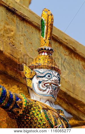 Sculpture In Royal Palace, Bangkok, Thailand. Wat Phra Keo.