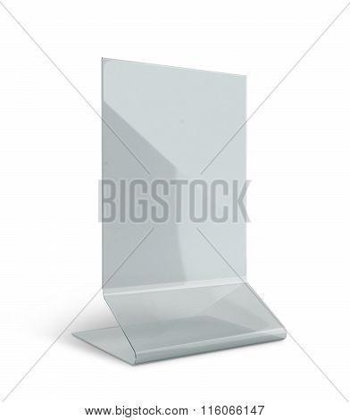 3D Render Transparent Acrylic Table Stand Menu Holder Display In Isolated Background With Work Paths