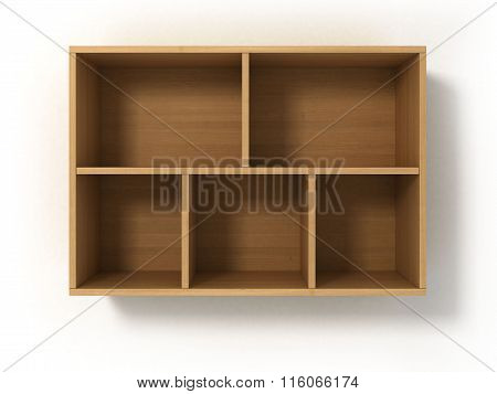 Light Bookshelf Isolated On White Background