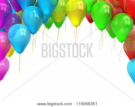 Colorful Balloons With Place For Your Text Isolated On White