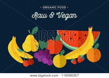 Organic Fruits Vegan Food Concept Illustration