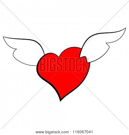 Vector illustration of a heart with wings on a white background