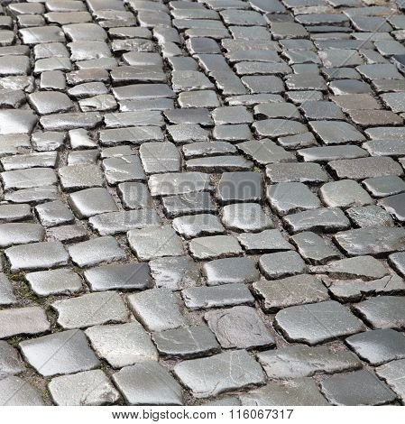 Pattern Of Wet Cobble Stones