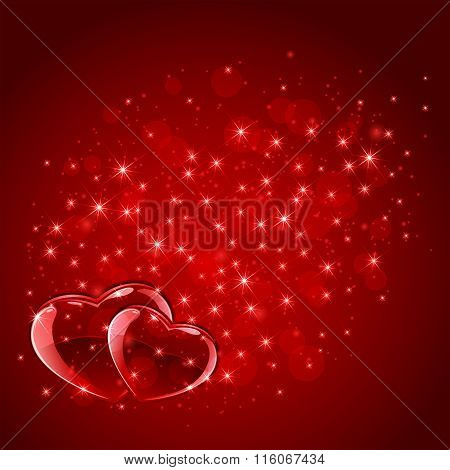 Red Hearts On Starry Background