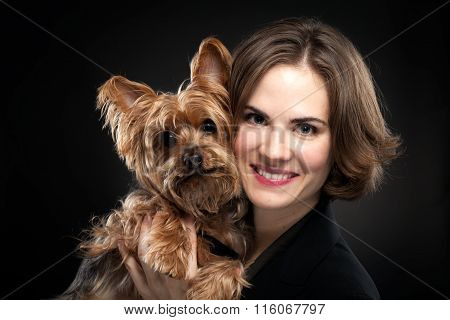 Pretty Girl With Cute Dog