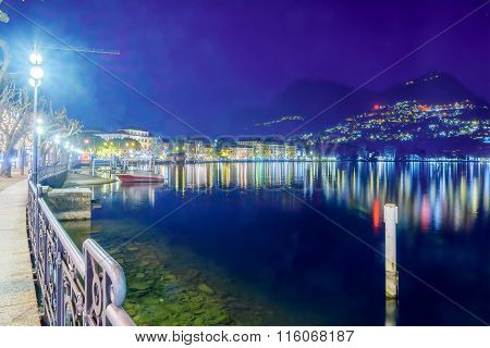 Evening View In Lugano