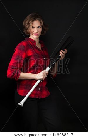 Model Red Flannel Shirt Holding Bat