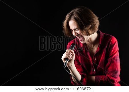 Model Red Flannel Shirt Belting Out Vocals