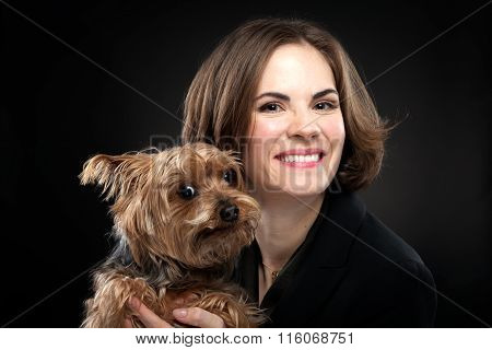 Pretty Girl Holding Cute Dog