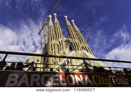 The Basilica Temple Expiatori De La Sagrada Familia Is A Large Roman Catholic Church In Barcelona