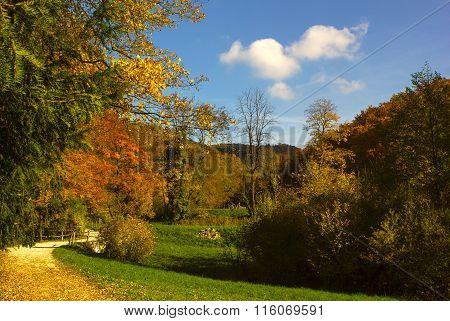Hermitage Arlesheim in the autumn in the municipality Arlesheim