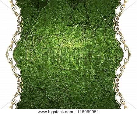 Grunge Green Label With Gold Edges. Element For Design. Template For Design. Copy Space For Ad Broch
