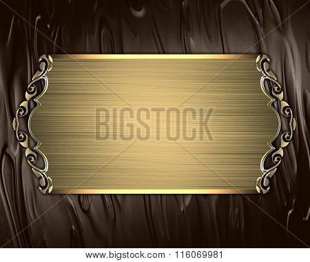 Brown Background With Gold Plate. Element For Design. Template For Design. Copy Space For Ad Brochur