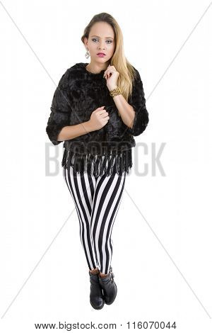 young beautiful woman full body, isolated in white