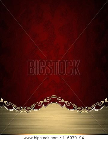 Grunge Gold Nameplate With Gold Edges On Red Texture. Element For Design. Template For Design. Copy