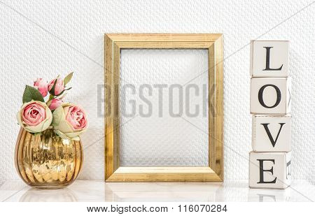 Picture Frame And Pink Roses. Valentines Day Concept