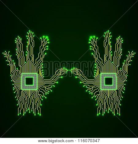 Neon hands. Cpu. Circuit board