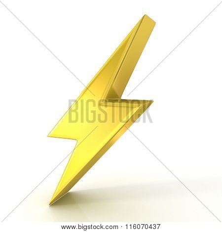 Lightning symbol 3D golden sign