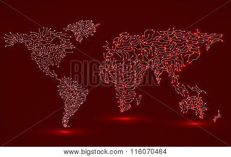 World Map. Circuit board