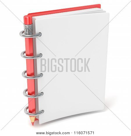 Blank notepad and pencil. 3D