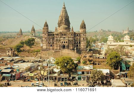Busy City Streets And Tall Hindu Chaturbhuj Temple In Madhya Pradesh State