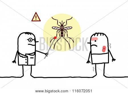 vector cartoon doctor with sick man, mosquito and Dengue