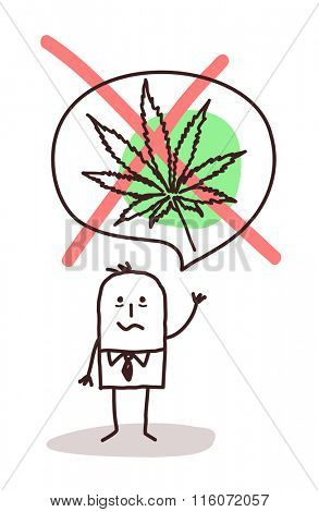 vector cartoon man who wants to stop smoking cannabis
