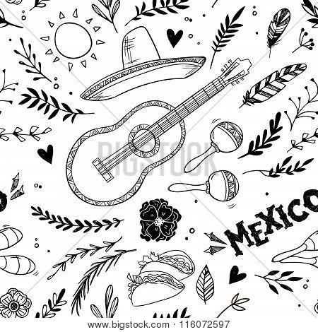 Hand Drawn Vector Illustration - Mexico. Music Festival. Seamless Pattern