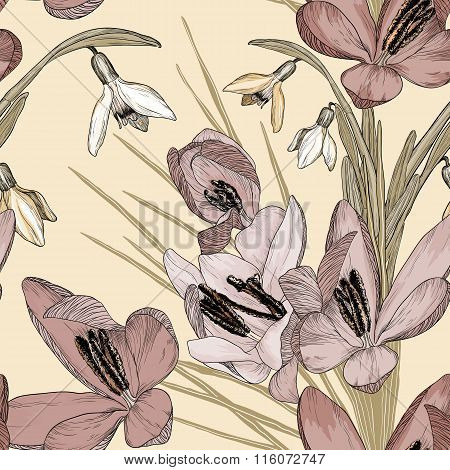 Vintage Floral Seamless Pattern With Snowdrop And Crocus Flowers