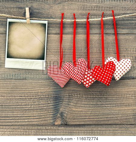 Red Hearts And Instant Polaroid Photo Frame. Valentines Day
