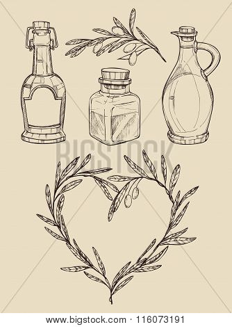 Mega Vintage Set. Hand Drawn Vector Illustrations - Olive Oil (olive Heart, Olive Branch, Bottles Of