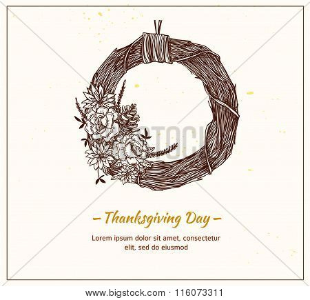 Hand Drawn Vector Illustration - Thanksgiving Day. Decorative Wreath Of Branches And Flowers