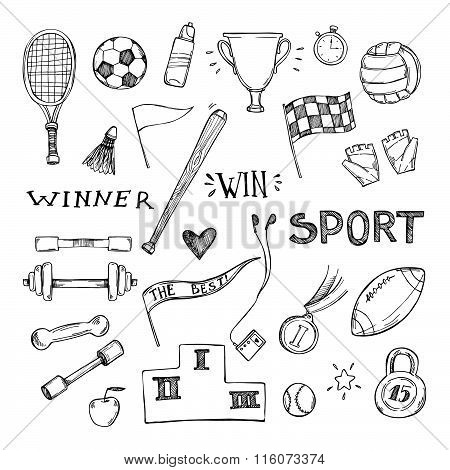 And Drawn Vector Illustrations. Sport And Fitness Set. Sketch Icons