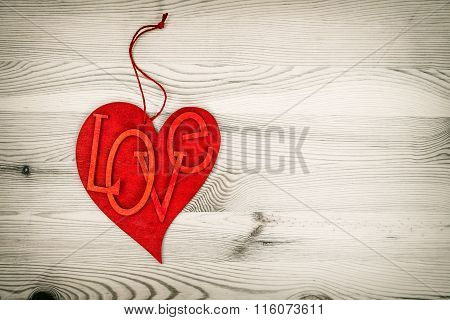 Red Heart Over Wooden Background. Love Valentines Day
