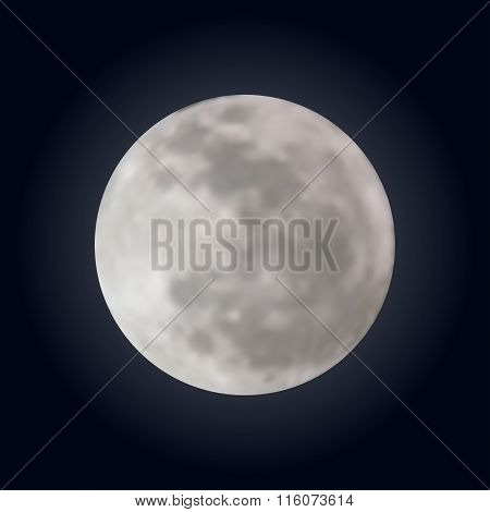 Realistic shining full moon in the dark blue sky