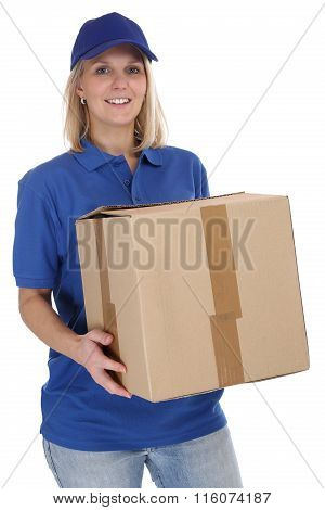 Parcel Delivery Service Box Package Woman Order Delivering Job Young Isolated