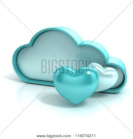 Cloud with hearts. Favorite storage 3D computer icon