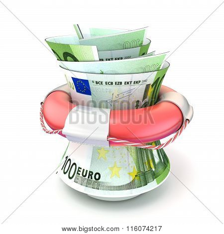 Red lifebuoy saving money roll euro. 3D