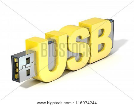 USB flash memory made with the word USB. 3D