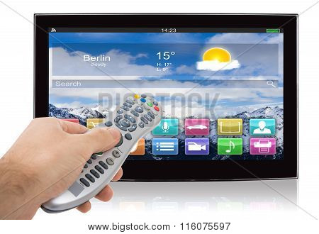 Hand Using Remote Control Of Smart Flat Screen Television
